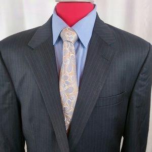 Jos A Bank Suit 44L Blue w pinstripes 2btn S. Vent